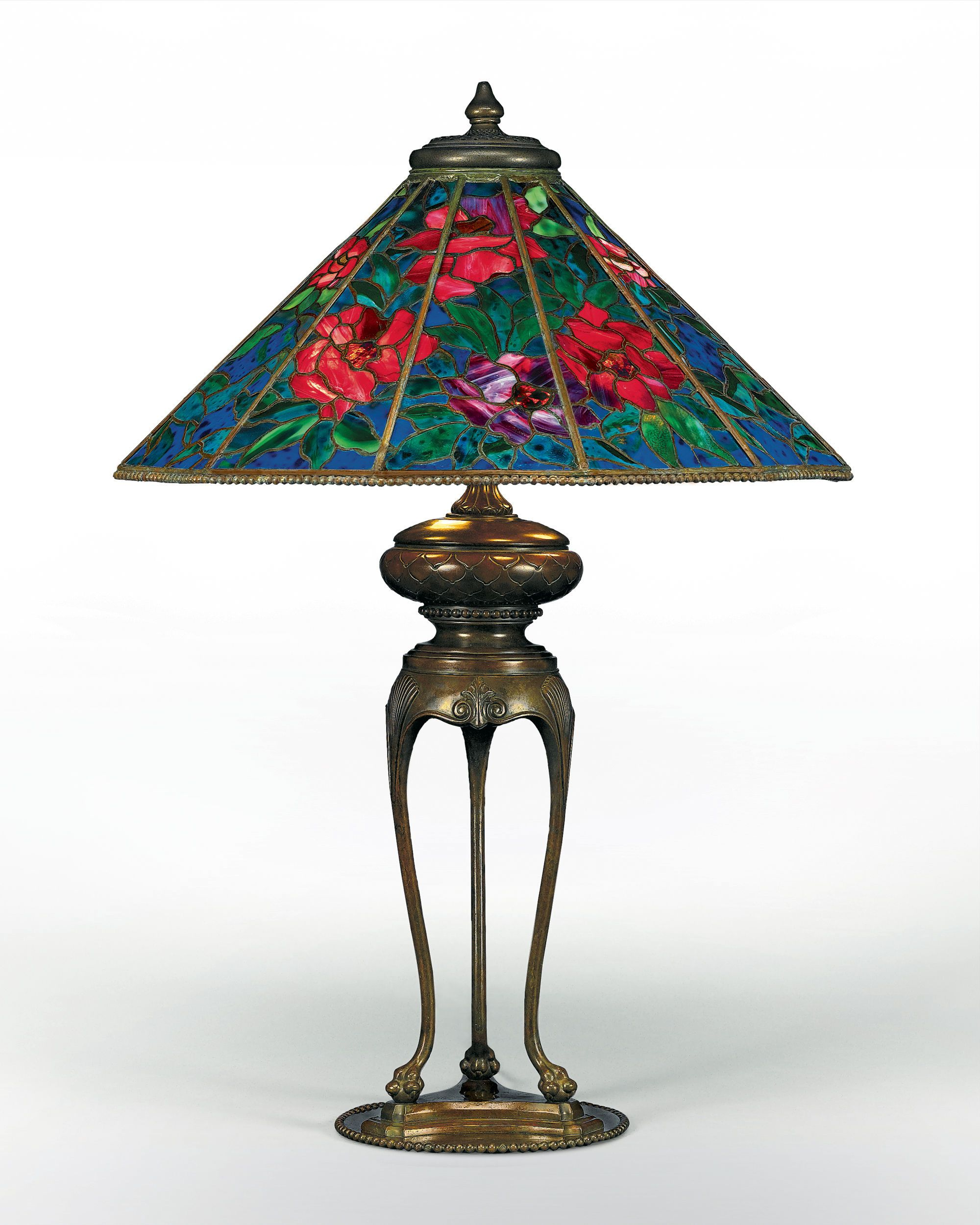 Tiffany Tischleuchte Landhaus Stil Rose Design 2 Flammig Tiffany Studios Peony Table Lamp Painted Windows Lamps