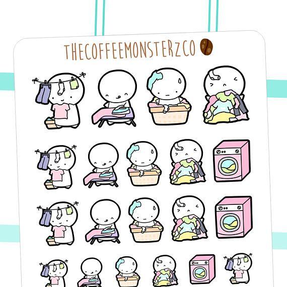 Laundry Emotis Emoti Planner Stickers E073 Decorazioni Adesive