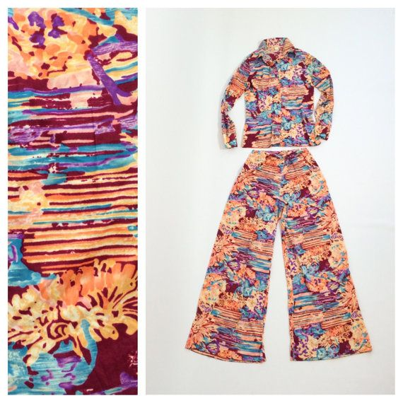 Hey, I found this really awesome Etsy listing at https://www.etsy.com/listing/229560675/70s-palazzo-pant-set-womens-tropical