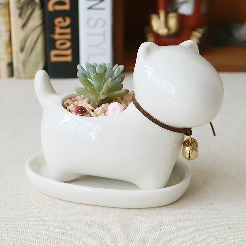 Decorative Dog Design White Mini Ceramic Plant Flower Pot