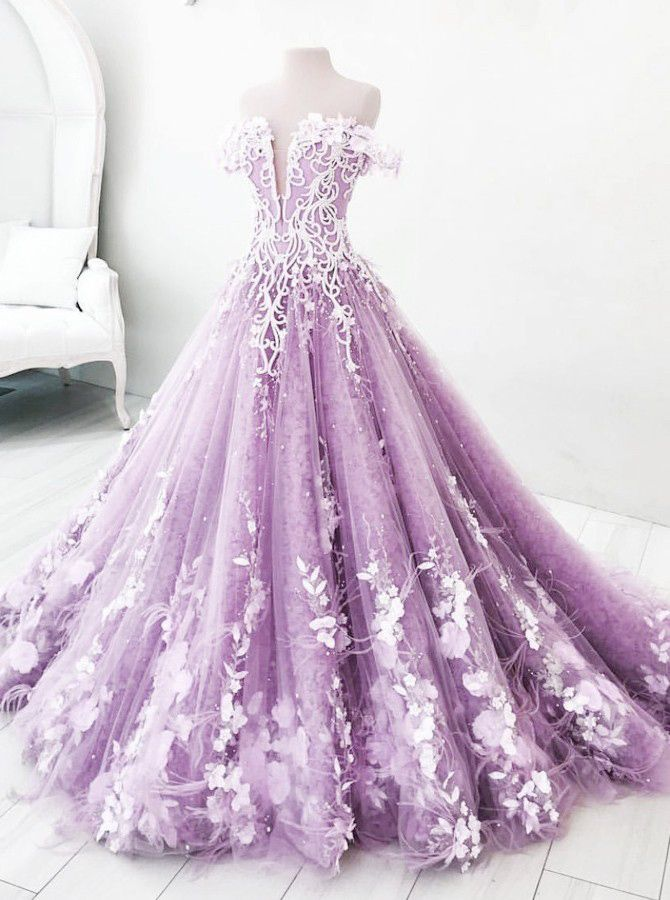 Ball Gown Off-the-Shoulder Lilac Tulle Appliques Prom Dress,Floor Length Ball Gown Evening Dress,Tulle Party Dress