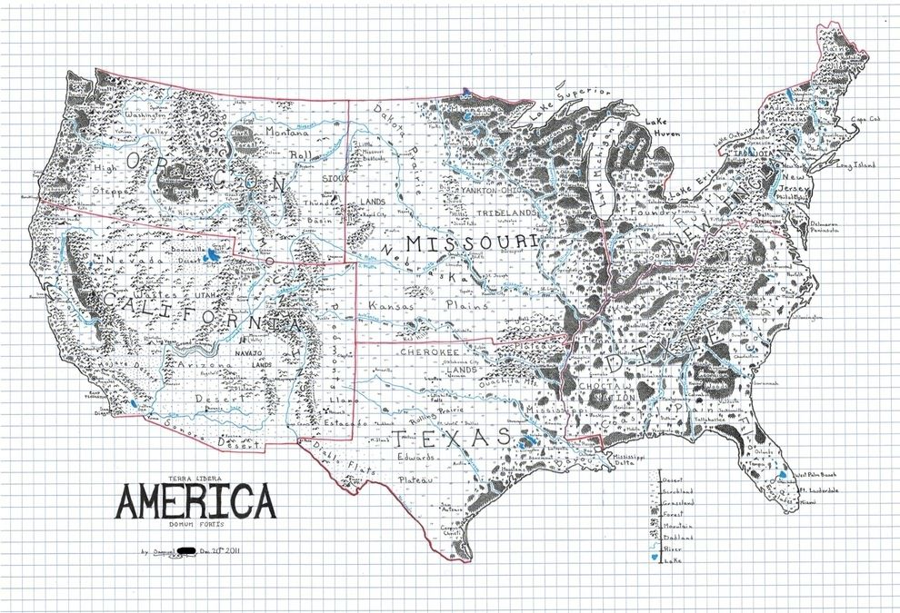 The US Drawn Like A Map From A Fantasy Novel Maps You - Draw on us map