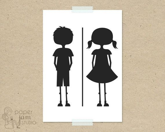 Little Girl Boy Bathroom Sign Fun Toilet Symbol Amenities