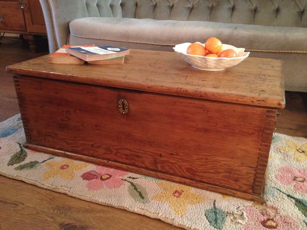 Old Wooden OAK BOX, Small BLANKET CHEST, Coffee Table, Toy, Tool,