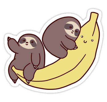 Sloths and giant banana sticker by saradaboru