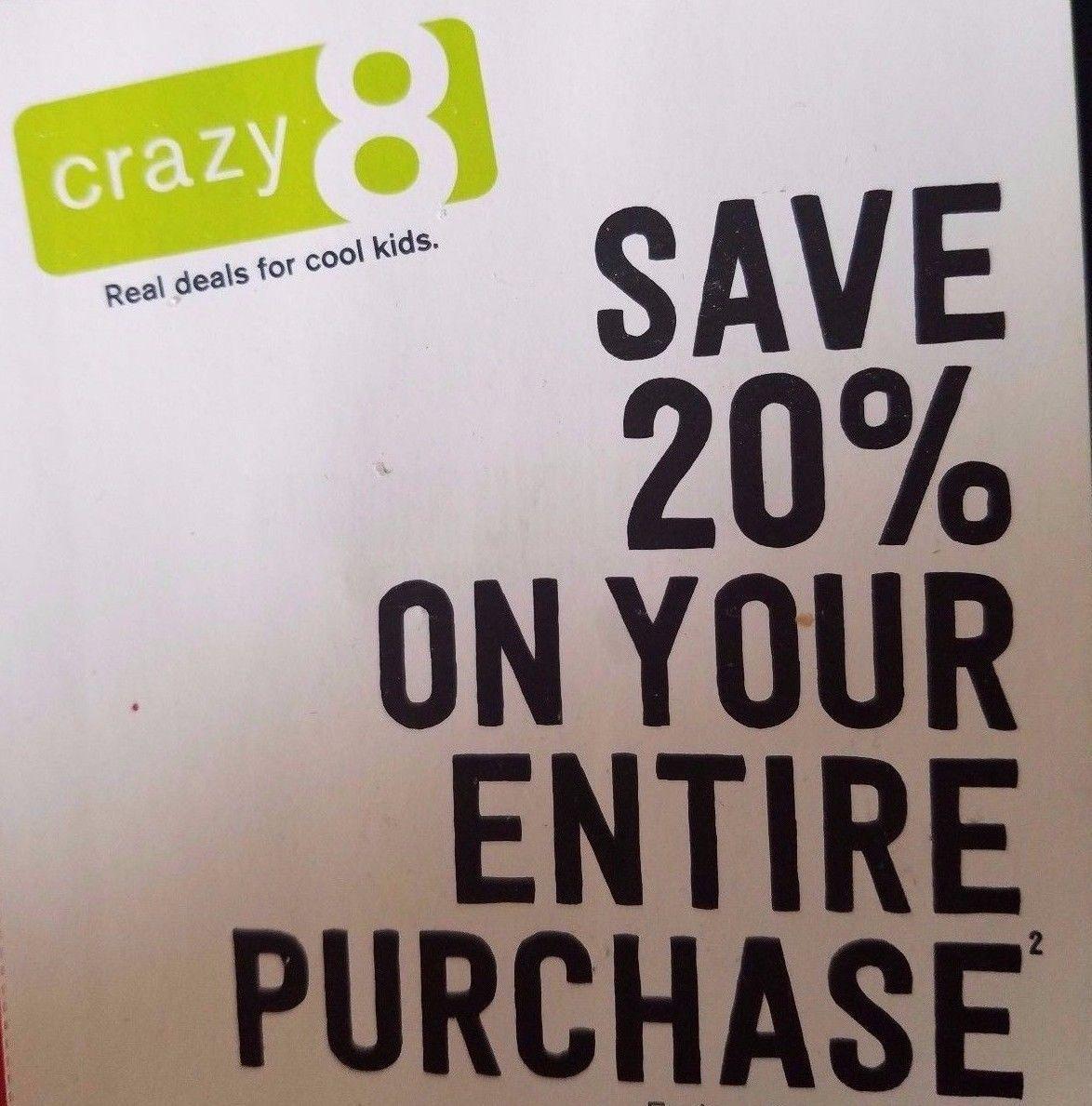 Crazy 8 20 Discount Off Entire Purchase Exp 1 2 2018 Coupon Https Auctionarray Com Shop Crazy 8 20 Discount Off Entire Purchas Discounted Crazy 8 Gift Card