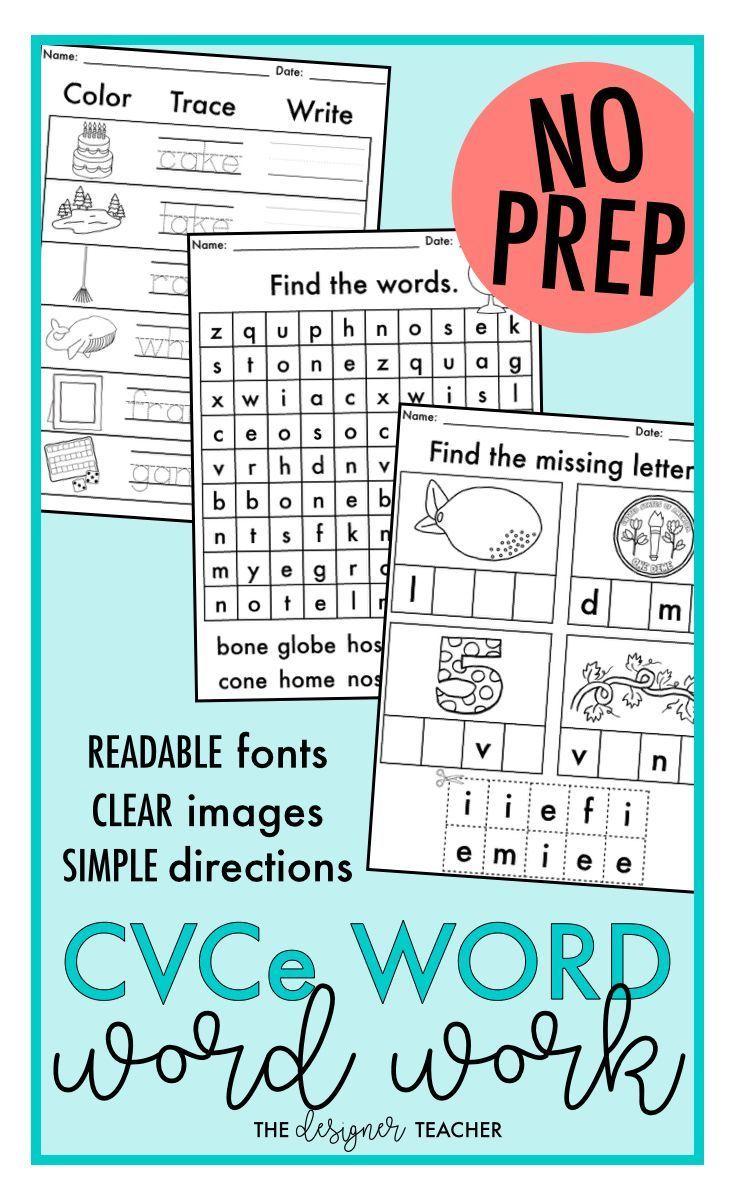 NO PREP Long Vowels CVCe Word Worksheets | CVCe Word Work BUNDLE ...