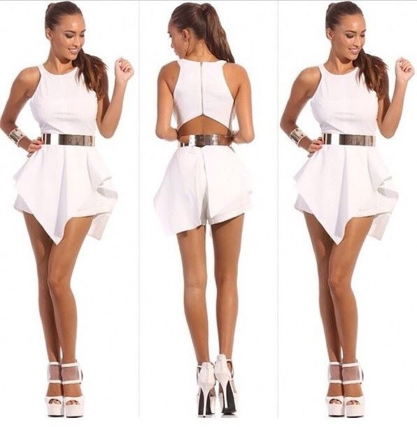 Plus Size White Backless Asymmetric Shorts Romper All White For