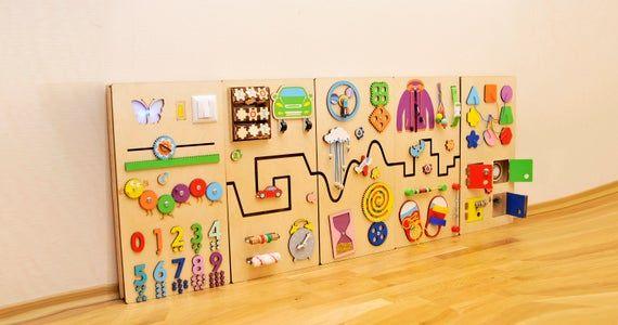 Photo of Tablero sensorial vivero decoración tablero de desarrollo Montessori niño ocupado tablero aprendizaje actividad tablero terapia ocupacional bebé juguetes de madera