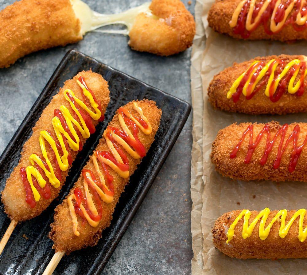 Korean Hot Dogs Recipe Food Recipes Cheese Corn Dog Recipe