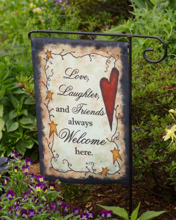 PRIMITIVE SIGN~~LOVE LAUGHTER FRIENDS ALWAYS WELCOME~~
