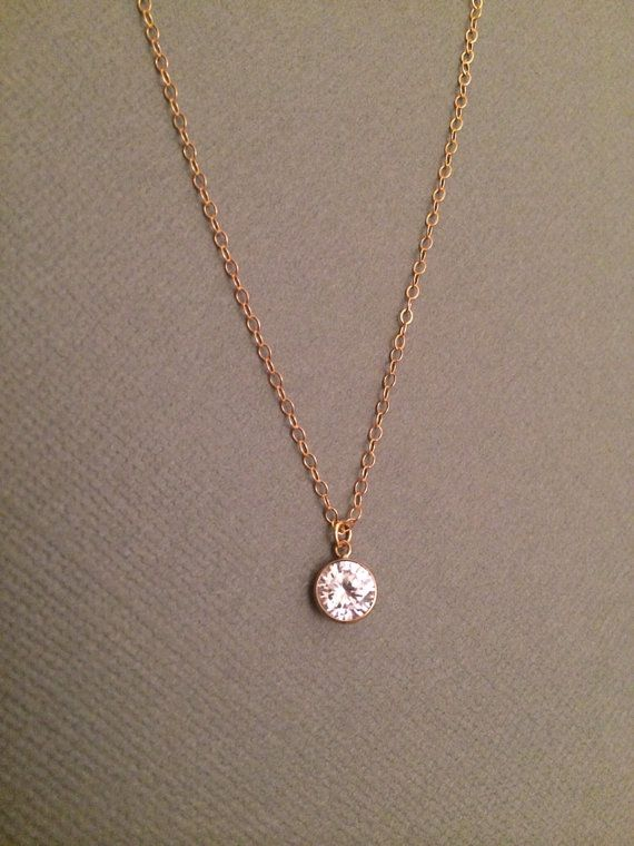 Rose Gold Plated Petite CZ Round Photo Engraved Necklace with 18 Chain 1//2 inch x 1//2 inch in Sterling Silver or Gold