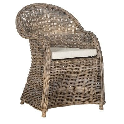 Zane Wicker Club Chair Gray Safavieh With Images
