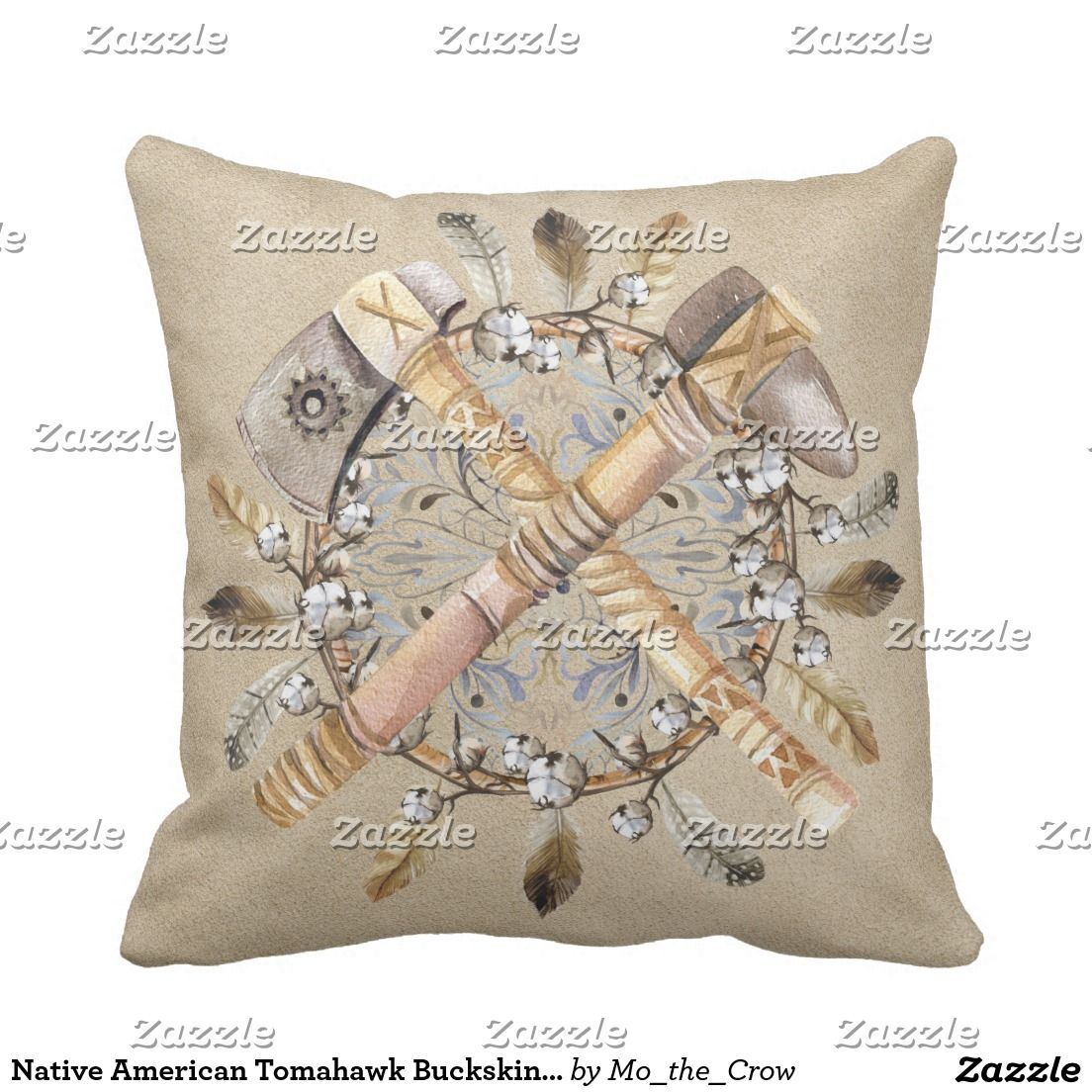 Native American Tomahawk Buckskin Suede Pillow