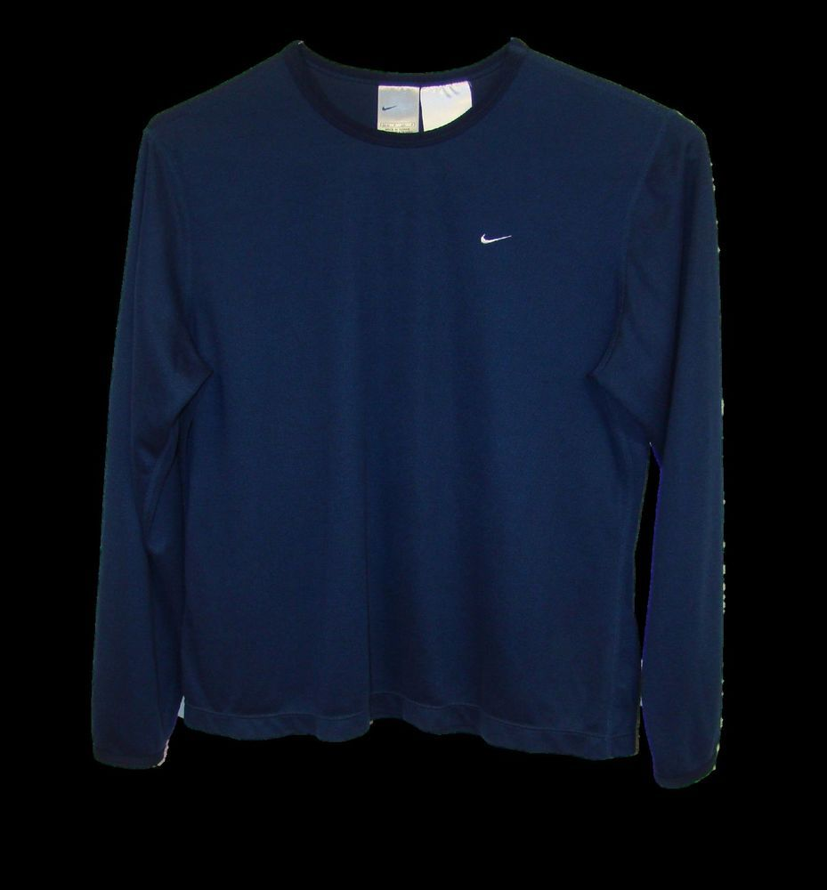 9961624f Nike Dri-Fit Womens Navy Blue 100% Polyester Long Sleeve Crew Neck Shirt  Small S #Nike #Athletic #Casual