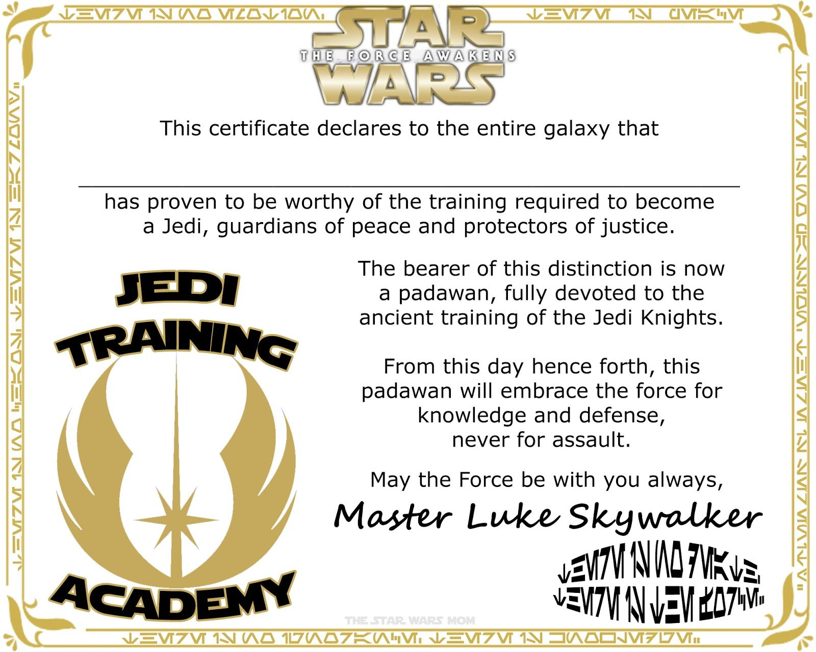Star Wars Jedi Training Academy Certificate Free Printable ...