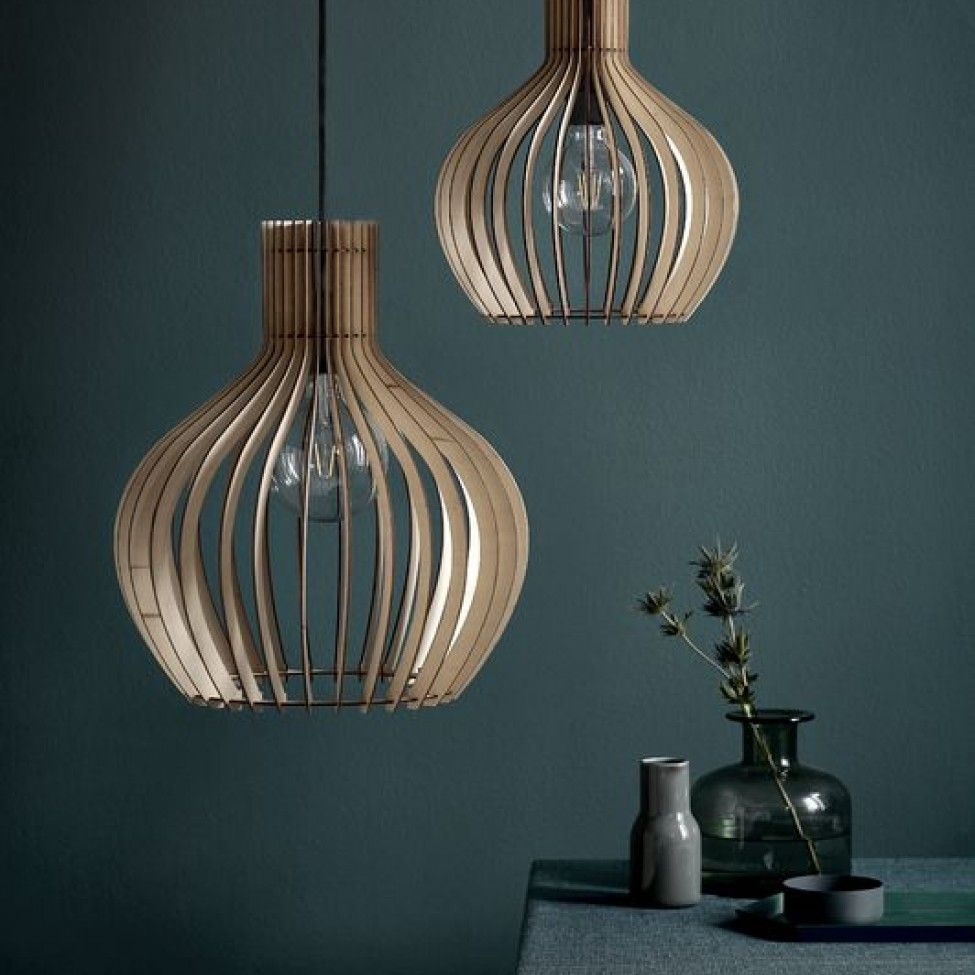 Scandi Wooden Slatted Pendant Light #pendantlighting