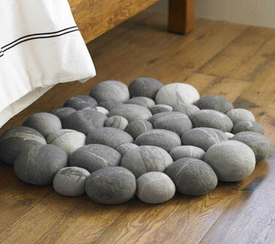 Clustered Felted Stone Mat by Ronel Jordaan