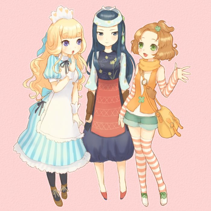 Felicity, Iroha and Tina from HM: ANB. I have no objections about the games crop of girls. I may not be as in love with them as I have been for other games, but compared to the boys in the game they are near perfect.