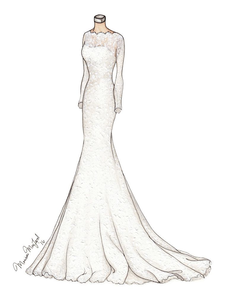 Alyne Bridal Custom Lace Wedding Gown Illustration by