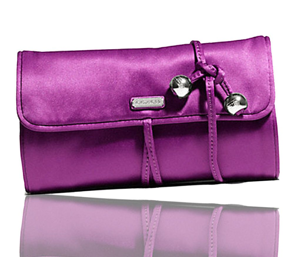 COACH Womens Luxury Mulberry Jewelry Travel Organizer Roll Pouch