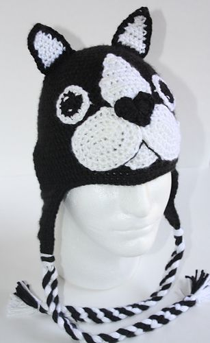 6a5e2bd6e14 This is a pattern for a Dog Breed Boston Terrier hat made to resemble the  popular dog breed Boston Terrier. It can easily be made for any person.