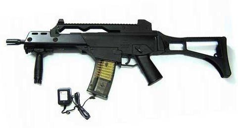 Double Eagle M85 Airsoft Rifle FPS-200, Folding Stock by Double Eagle. $27.99. gun comes with everything you need including a rechargeable battery, a charger, a folding stock and safety glasses. BB's load from magazine. This fully automatic gun looks and shoots great, shooting over 200 FPS. Shoots 200 FPS with a magazine capacity of 42 rounds. Includes battery and charger, safety glasses, sling, foregrip, and foldable rear stock.. Save 70%!
