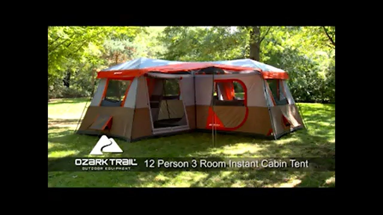 Ozark Trail Base C& 16x16 Instant Cabin Tent 12 Person 3 Room All  sc 1 st  Pinterest & Ozark Trail Base Camp 16x16 Instant Cabin Tent 12 Person 3 Room ...