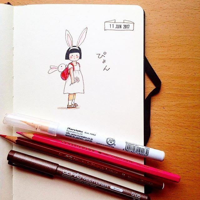 Omimi34 No629 2017611の絵日記 うさぴょん Rabbit