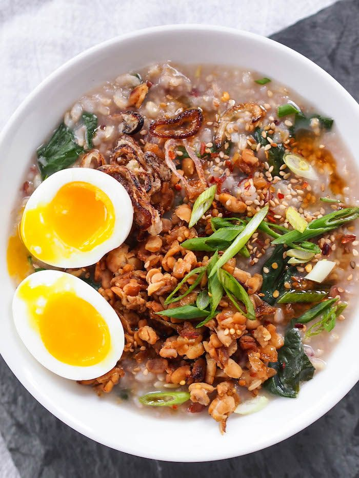 Congee Is A Savory Asian Rice Porridge Served For Breakfast Gluten Free And Vegan If You Leave Off The Egg Asian Breakfast Rice Porridge Recipes