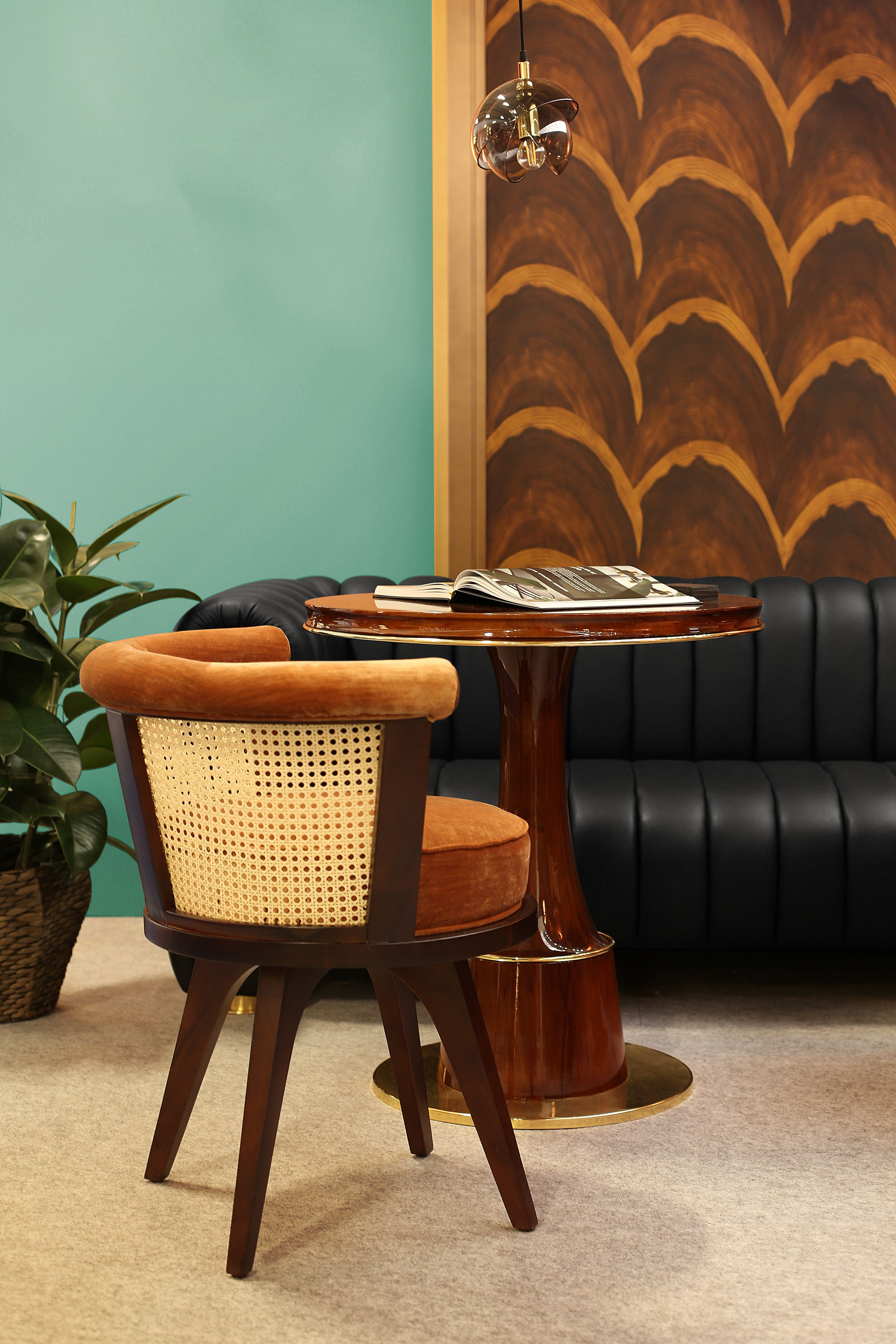 Rattan and Walnut Wood Dining Chair   Rattan Piece in 2020 ...
