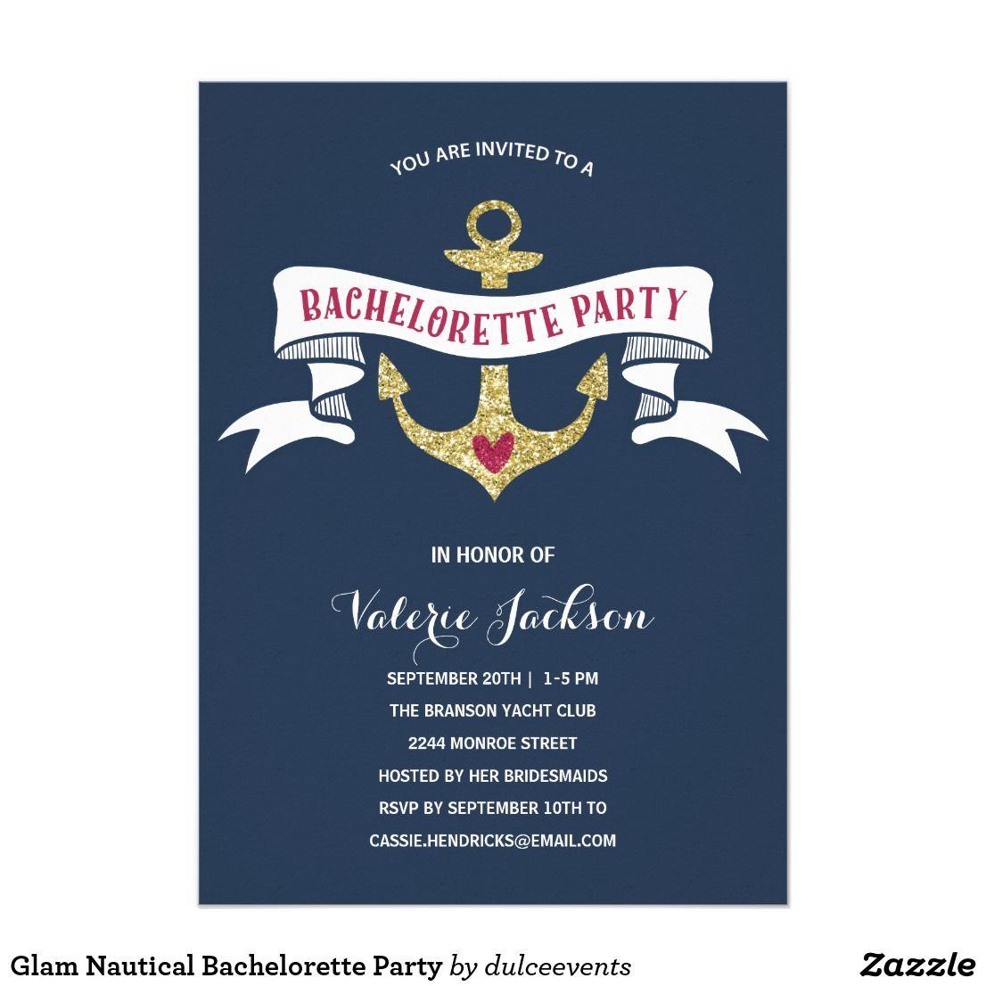 Glam Nautical Bachelorette Party Card | Nautical bachelorette ...