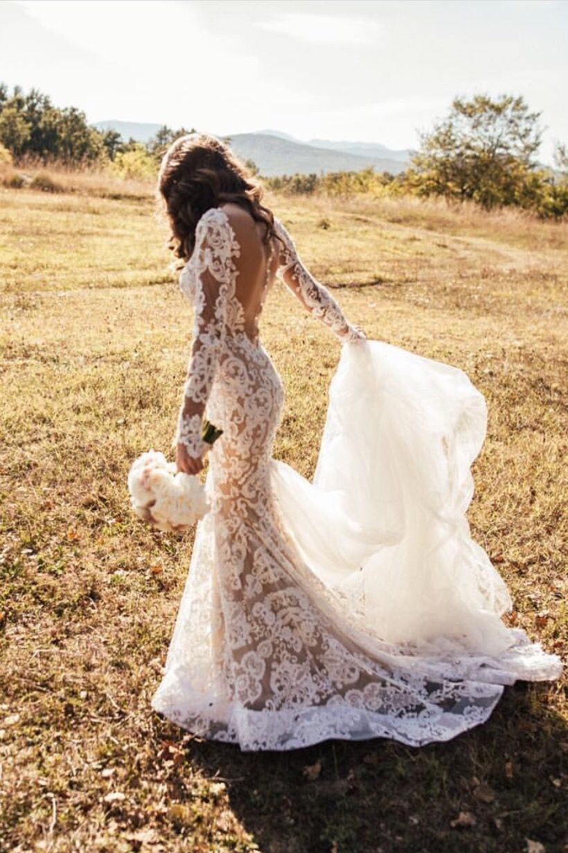 Wedding Dress Gown Sleeves Open Back Lace Tule Tulle Bride Wife Outdoor Flower Train