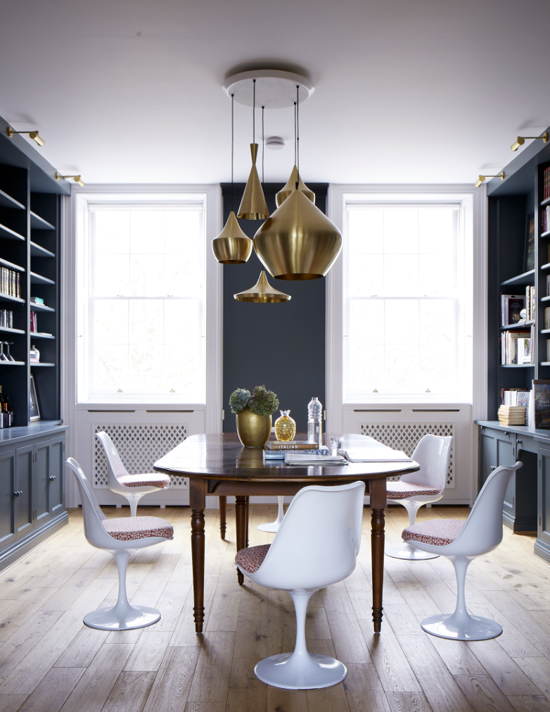 This Regency Room Is Modernised With Modern White Dining Chairs And Iconic Metal Pendant Lights In A Cluster