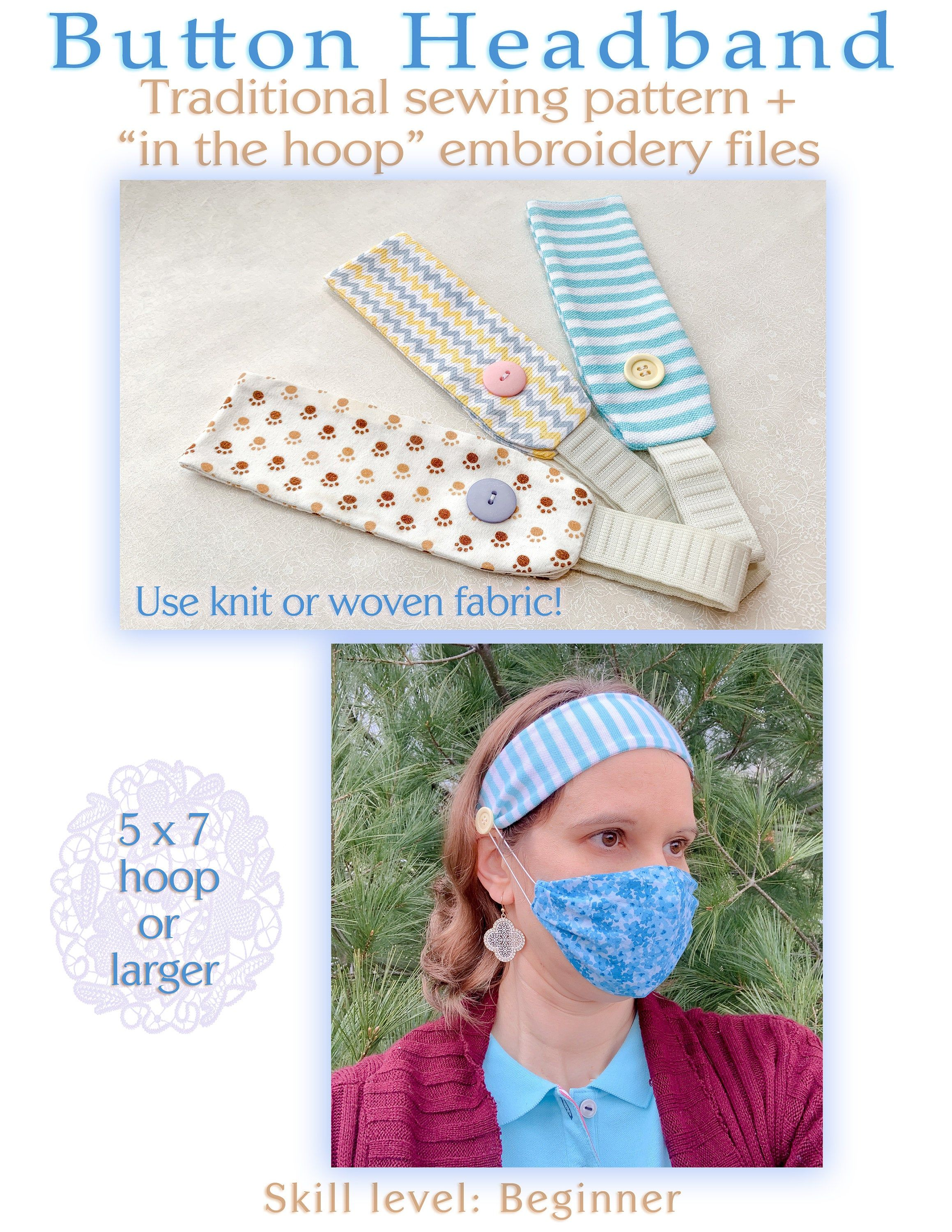 Pattern In The Hoop Face Mask Extender Ear Saver Button Headband