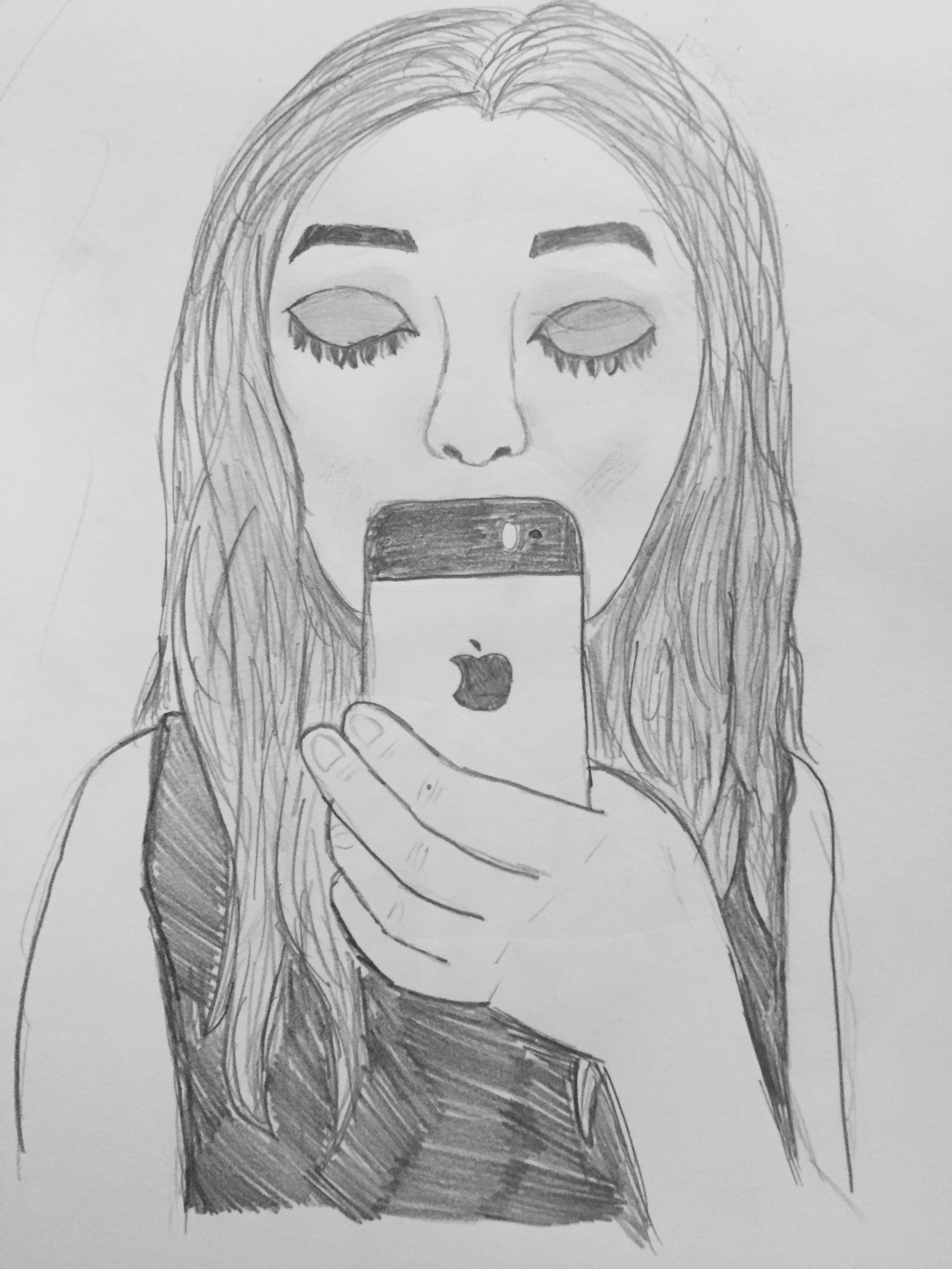 tumblr girl mirror selfie drawing art tumblr