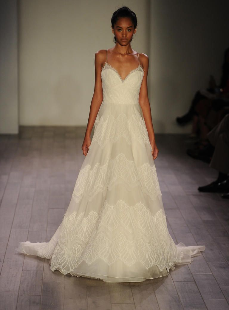 Jim Hjelm ivory lace and organza wedding dress with sweetheart neckline from Spring 2016