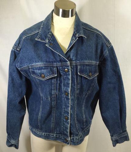 Vintage Calvin Klein Denim Jean Jacket Trucker Snap Front Medium Blue Usa Made Vintage Denim Jeans Vintage Denim Denim