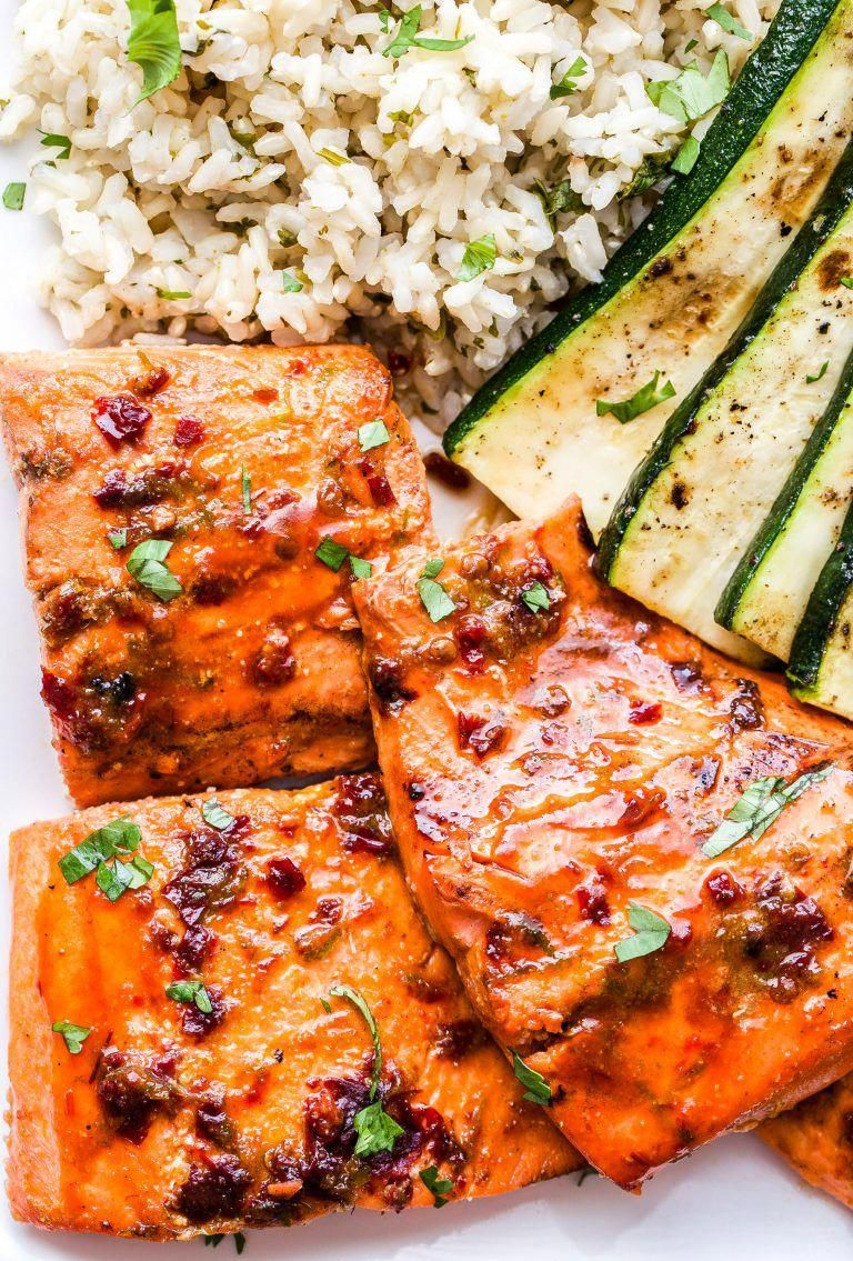 Chipotle Maple Grilled Salmon is a healthy and easy to make dinner that's perfect for summer! Smoky, sweet and a little spicy. It goes great with cilantro lime rice and grilled zucchini!