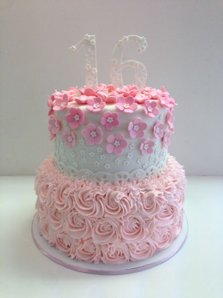 2 Tier Sweet 16 Birthday Cake Pink Rose Frost It Cupcakery