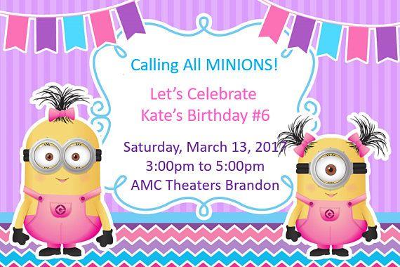 Invitación Del Cumpleaños De Niña De Súbdito Digital