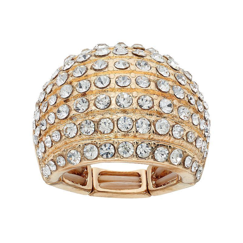 Pave Dome Stretch Ring, Gold