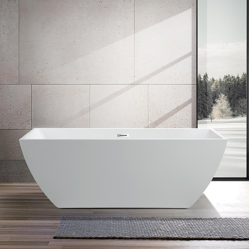 Vanity Art Montpellier 59 In Acrylic Flatbottom Freestanding Bathtub In White Va6821 The Home Depot Free