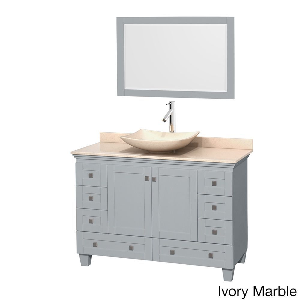 Wyndham Collection Acclaim Oyster Grey 48-inch Ivory Marble Top Single Vanity with 24-inch Mirror (