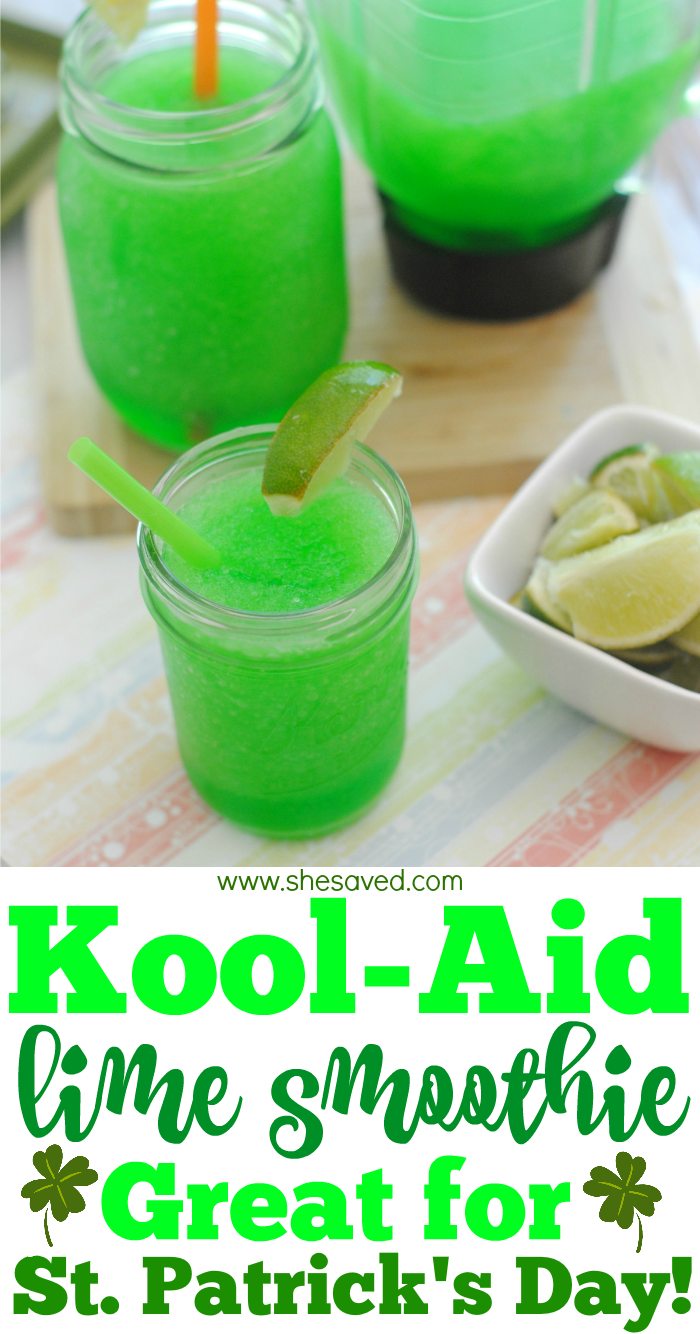 Kool Aid Lime Smoothie Drink For St Patrick S Day Slushie Recipe Green Drink Recipes Lime Kool Aid