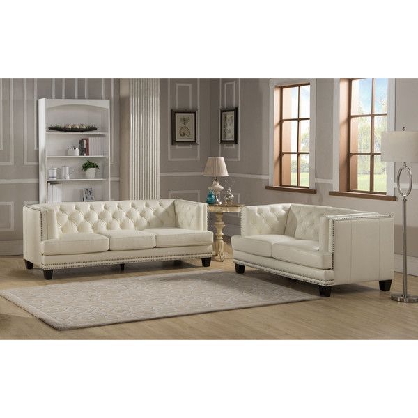Elle Tufted Premiun Cream Top Grain Leather Sofa And Loveseat 3 512 Liked On Polyvore Featuring Home Furniture Sofas Beige Couch Off White