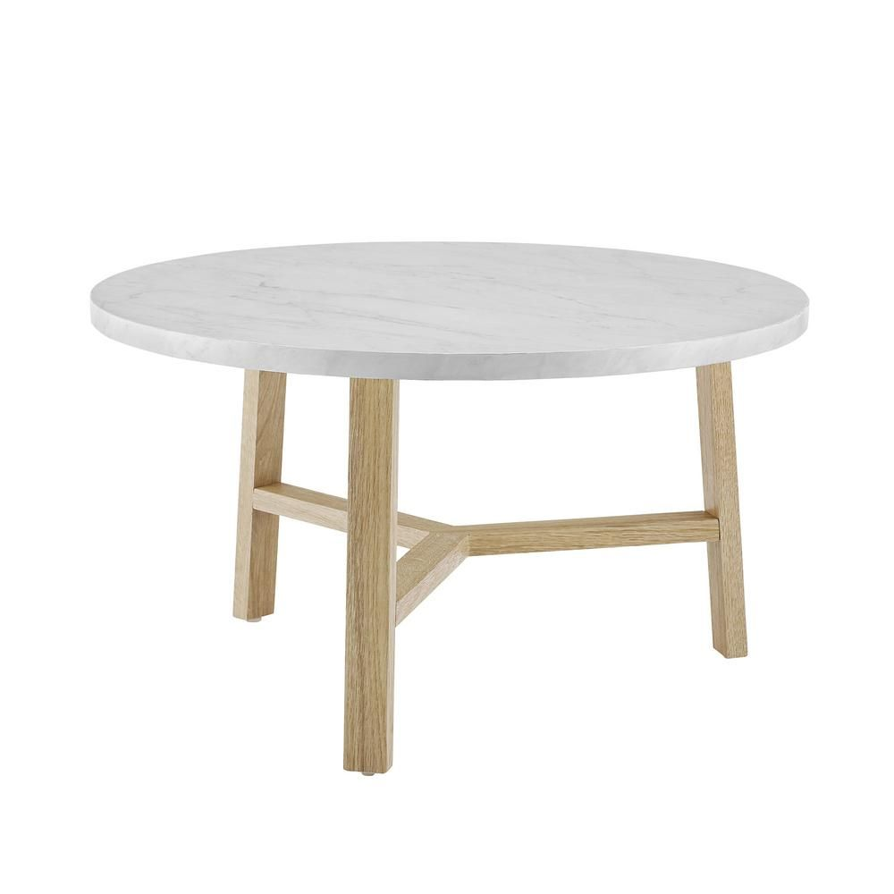 Walker Edison Furniture Company 30 In White Marble And Light Oak Round Coffee Table Hdf30emctlo The Home Depot Round Coffee Table Modern Coffee Table White Round Coffee Table [ 1000 x 1000 Pixel ]
