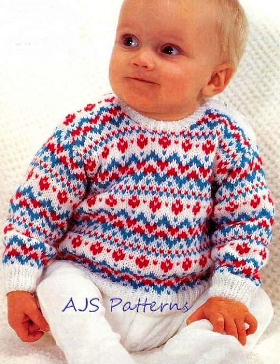 PDF Knitting Pattern for a Baby\'s Fair Isle Sweater to fit 19-21 ...