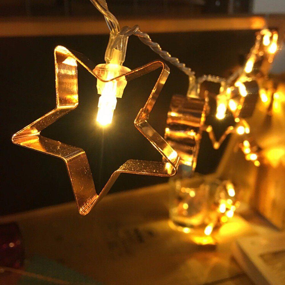 Christmas Rose Gold Stars Heart Shape Battery Flashing String Lights Party Wedding Decor