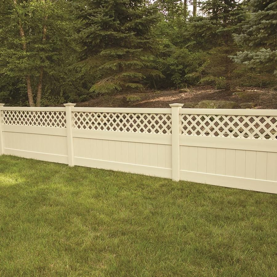 Freedom Ready To Assemble Conway 4 Ft H X 8 Ft W Sand Vinyl Lattice Top Vinyl Fence Panel Lowes Com In 2020 Fence With Lattice Top Vinyl Fence Panels Fence Panels
